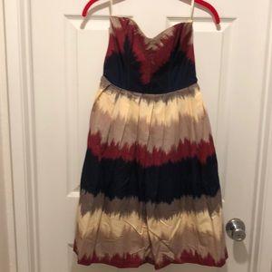 Multi colored strapless dress